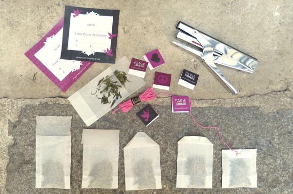 Matériel pour création de sachets de thé DIY Pause Tendresse