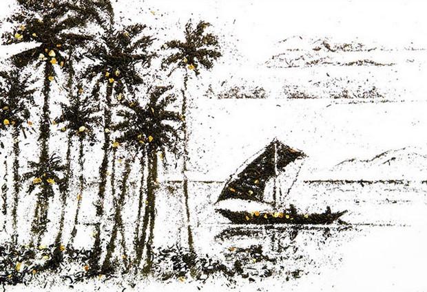 Un tableau de paysage fait par Andrew Gorkovenko en feuilles de thé