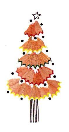 Un sapin de Noël en épluchures de crayon
