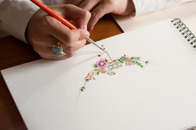 L'art floral de Les Néréides sur un inspirant bouquet de papier